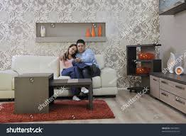 happy young couple relax home modern stock photo 56478091