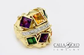 gem gold rings images Square gems in custom designed ring before and after pictures jpg