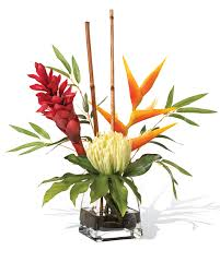 tropical flower arrangements lifelike protea torch tropical artificial flower