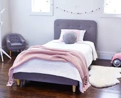 new kids harlow children upholstered storm grey linen single bed