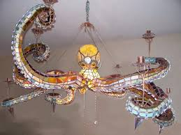 Beach Glass Chandelier Under The Sea Stained Glass Octopus Chandelier Geekologie