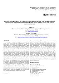 exterior wall thickness analytical computation of admittance decrement factor time lag