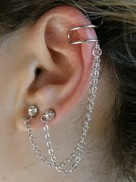 cuff piercing non piercing ear cuff earring silver pl with chain