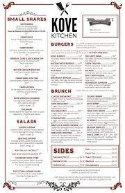 menu for brunch kove kitchen brunch