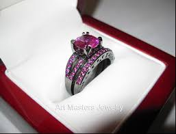 black and pink wedding ring sets creative idea pink and black wedding ring sets wedding ideas