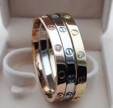 stainless steel cartier bracelet images Imitation brand cartier gold stainless steel crystal screw jpg