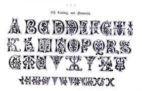 typography alphabet ornate 11th century types of ty pog ra phy