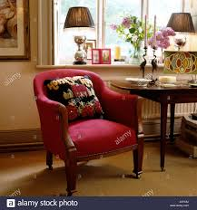 Red Armchair Red Armchair With Homemade Cushion Stock Photo Royalty Free Image