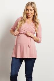 maternity blouse mauve solid wrap 3 4 sleeve blouse