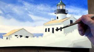 how to paint a lighthouse in watercolor step 6 painting the