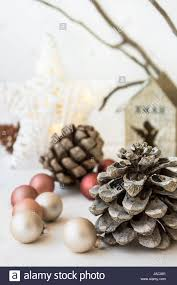 Tree Branch Candle Holder White Christmas Decoration Composition Big Pine Cones Scattered