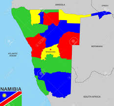 Namibia Map Very Big Size Namibia Political Map With Flag Stock Photo Picture