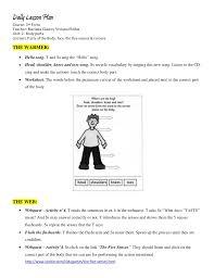 body parts lesson plan