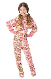 pink camouflage micro polar fleece onesie footie pajamas big