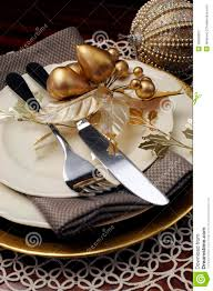 Gold Table Setting by Gold Theme Christmas Dinner Table Setting Close Up On Cutlery And