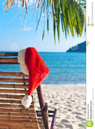 Clip On Umbrellas For Beach Chairs Red Santa U0027s Hat Hanging On Beach Chair Royalty Free Stock Image