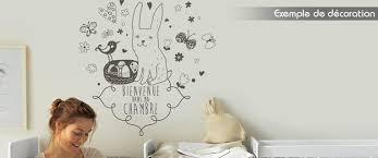 pochoir chambre bébé sticker enfant bienvenue dans ma chambre petit lapin