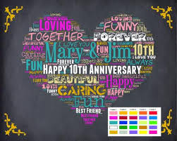 tenth anniversary gifts personalized 10th anniversary gift 10th anniversary chalkboard tenth a