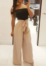 casual going out khaki sashes bow pockets pleated wide leg peplum going out casual