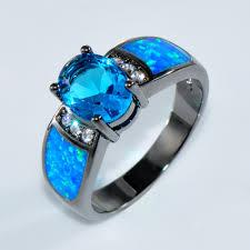 black gold sapphire engagement rings aliexpress buy bamos jewelry wedding blue opal