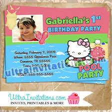 hello kitty pool party invitations birthday photo card invites