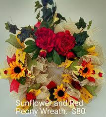 Sunflower Mesh Wreath Sunflower And Red Peony 26 U0027 U0027 Wreath Ruffle Mesh Ladybug Ribbon