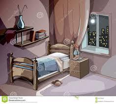 Sleep Room Design by Bedroom Interior At Night In Cartoon Style Vector Sleeping