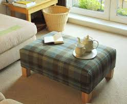 Plaid Ottoman Plaid Upholstered Ottoman Furniture As Coffee Table For Living