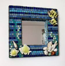 ocean themed mosaic wall hanging with mirror mosaic