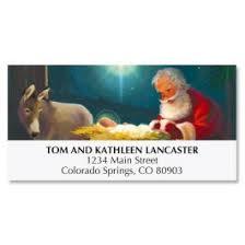 santa kneeling at the manger kneeling santa christmas cards current catalog
