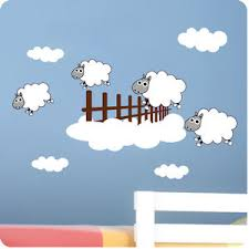 Sheep Home Decor Childrens Bedroom Counting Sheep Wall Stickers Vinyl Baby Art