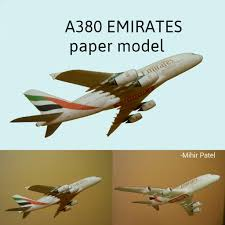 3d paper model airplanes print outs a380 emirates paper model 1 132