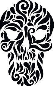 tribal tatto skull ornate patterned illustration stock vector