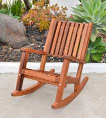 Wooden Rocking Chair Dimensions Redwood Outdoor Rocker Hand Crafted Wooden Rocker
