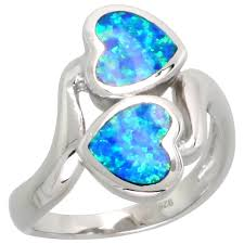 blue opal sterling silver jewelry lab created opal rings