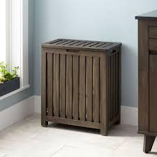 Laundry Hampers With Lid by Cael Teak Laundry Hamper Rustic Brown Bathroom