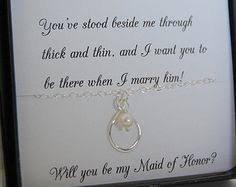 asking of honor poem bridal party gifts of honor bridesmaid infinity necklace