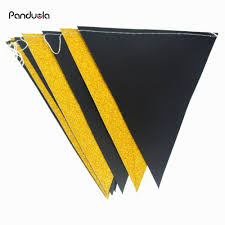 Yellow And White Flag Black White Silver Flag Banner Glitter Paper Pennant Bunting