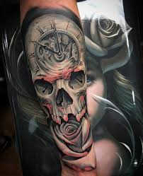 clock skull u0026 rose fusion on guys arm best tattoo design ideas