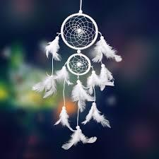 aliexpress com buy white dream catcher 2 rings feather handmade