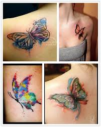 2014 cute watercolor butterfly for girls chest shoulder upper