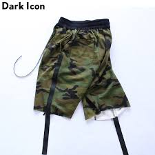 camouflage ribbon hip hop shorts camouflage casual drop crotch shorts men