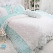 Ruffle Bedding Set Blue Bedding Set