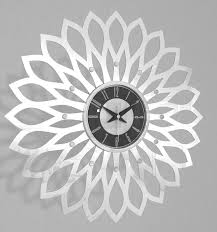 Wooden Wall Clock Mid Century Modern Silver Wooden Sunflower Clock Wall Clock