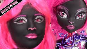 monster high catty noir doll costume makeup tutorial for halloween