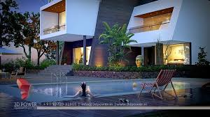 3D Rendering & Animation Swimming Pool In Bungalow
