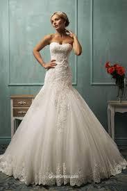 elegant strapless sweetheart tulle lace mermaid wedding dress