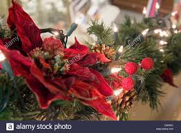 Garland With Lights Decoration Garland With Poinsettia Pine Cones And Lights
