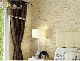 yellow beige creamy white words vintage wallpaper roll for bedroom