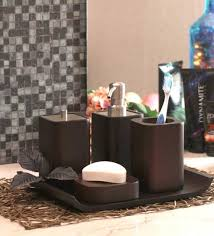 buy foyer wood bathroom set set of 4 online accessories sets